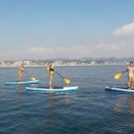 今日のSUP体験は、まるで真夏の三浦海岸。